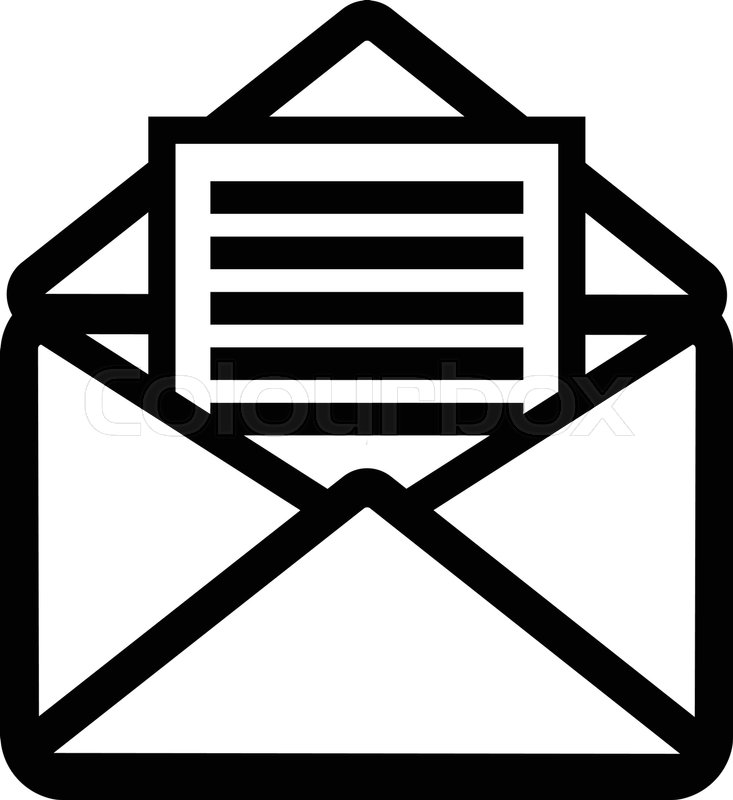 Opened Envelope With Letter Inside Receive Mail Icon