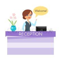 Vector Cartoon Style Illustration Of Hotel Receptionist
