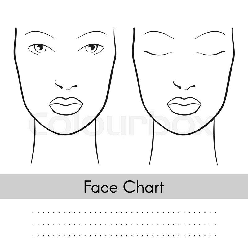 Vector beautiful woman face chart portrait. Female face