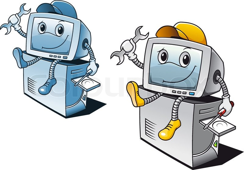 Computer In Cartoon Style For Repair Service Concept