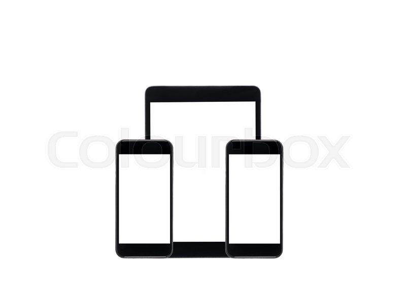 Black digital tablet and smartphones with blank screens
