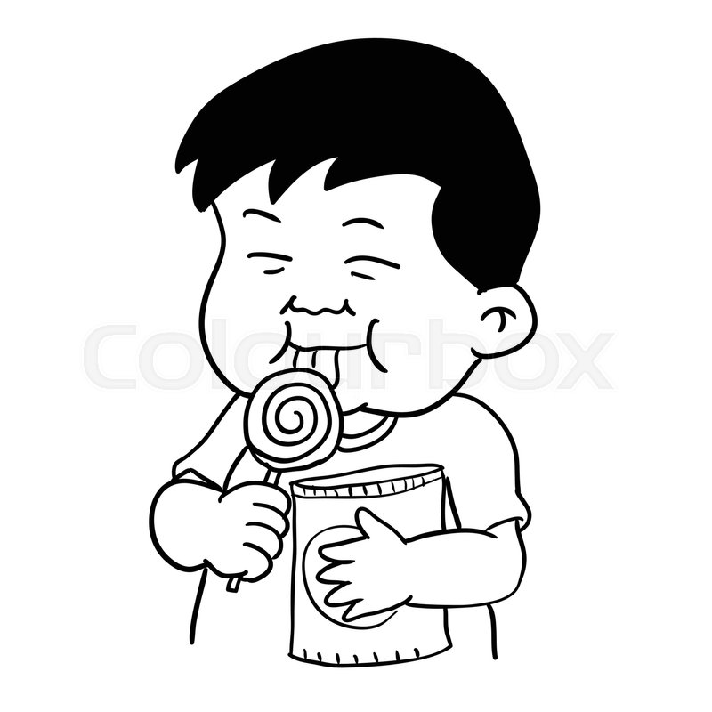 Hand drawing of Fat boy with snack and lollipop isolated