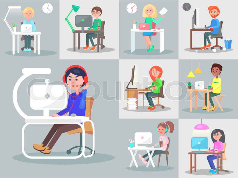 Office Workers Or Freelancers At Work Stock Vector
