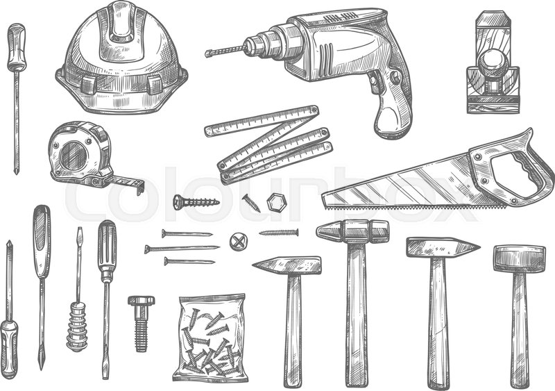 Repair, carpentry and woodwork work tools sketch icons set