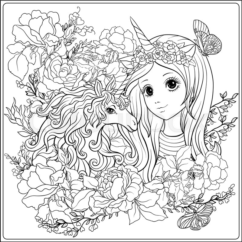 Cute girl and unicorn in roses garden. Outline drawing