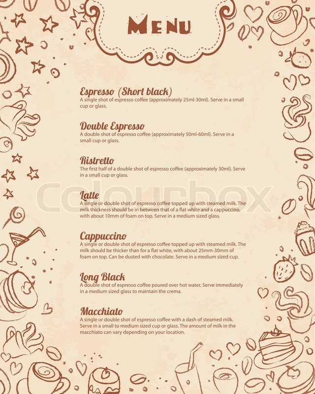 Restaurant menu page template with coffee scribble