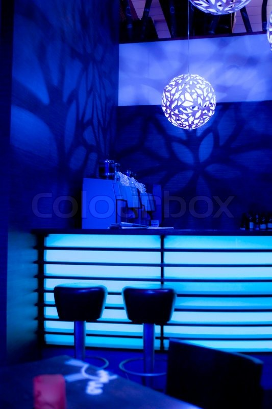 light blue desk chair lounge covers for sale bar with neon lights | stock photo colourbox
