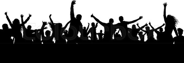 Crowd cheerful people silhouette Happy group of young