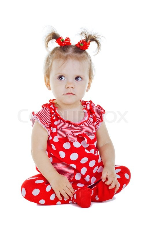 Little Cute Baby Girl Wallpaper A Small Child In A Red Dress Isolated On White Background