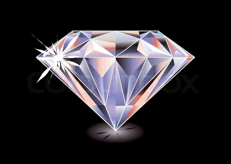 Artistic Brightly Coloured Cut Diamond With Shadow And