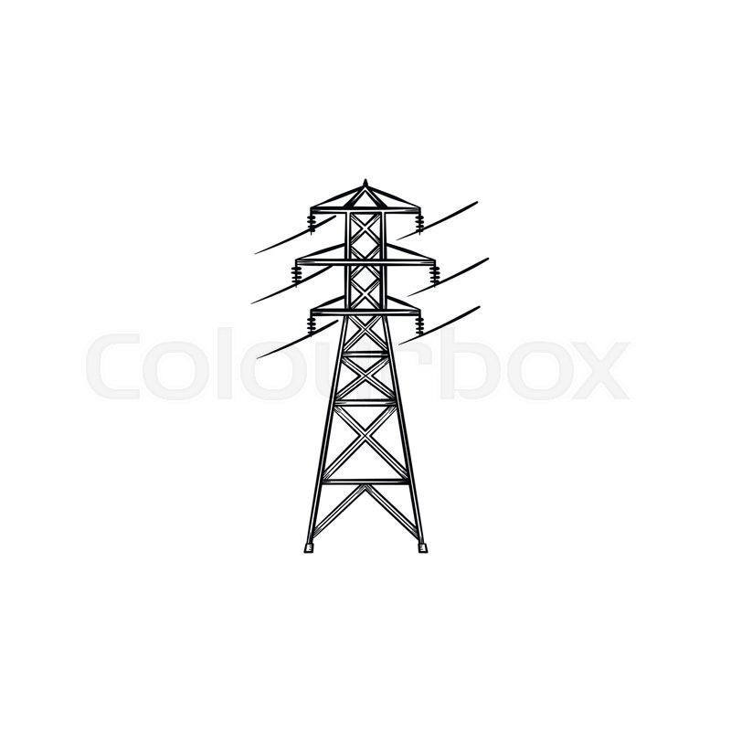 Electrical wire power line hand drawn outline doodle icon