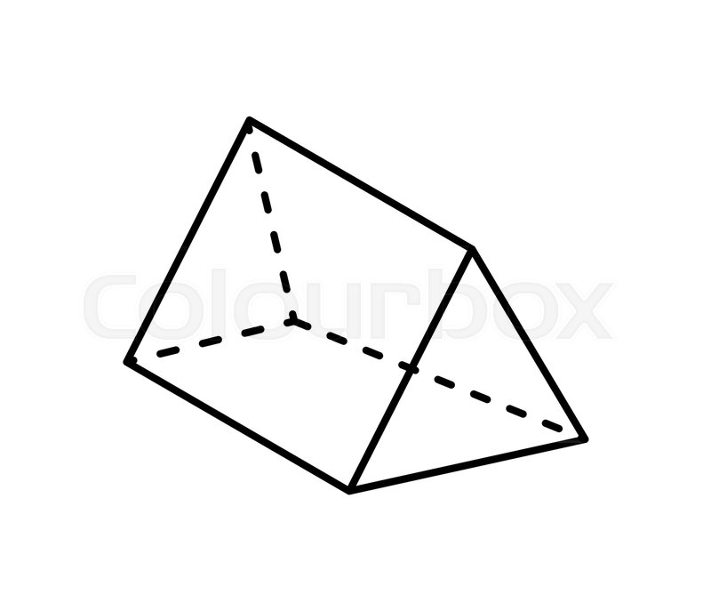 Triangular prism geometric shape projection of dashed and