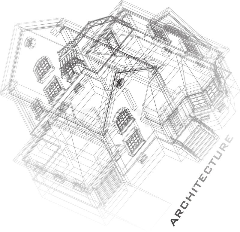 Architectural background with a 3D building model. Part of