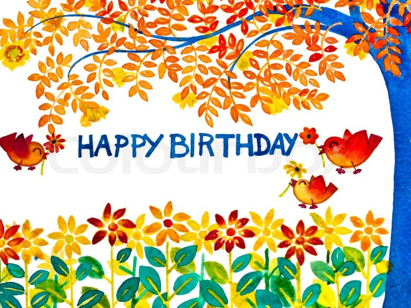 Colorful Happy Birthday Greeting Card Stock Photo