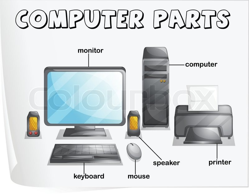 Computer Parts Stock Vector Colourbox