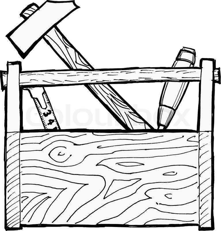 Hand drawn, cartoon, vector illustration of toolbox