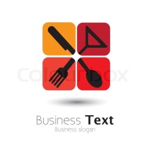 Colorful Icons Of Spoon Knife Fork & Glass- Vector Graphic