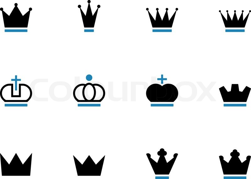 Crown duotone icons on white background. Vector