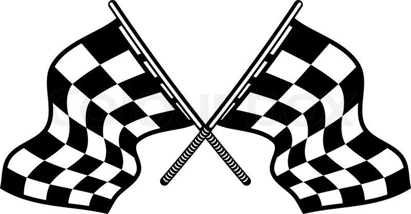 Crossed motor sport flags with their distinctive black and