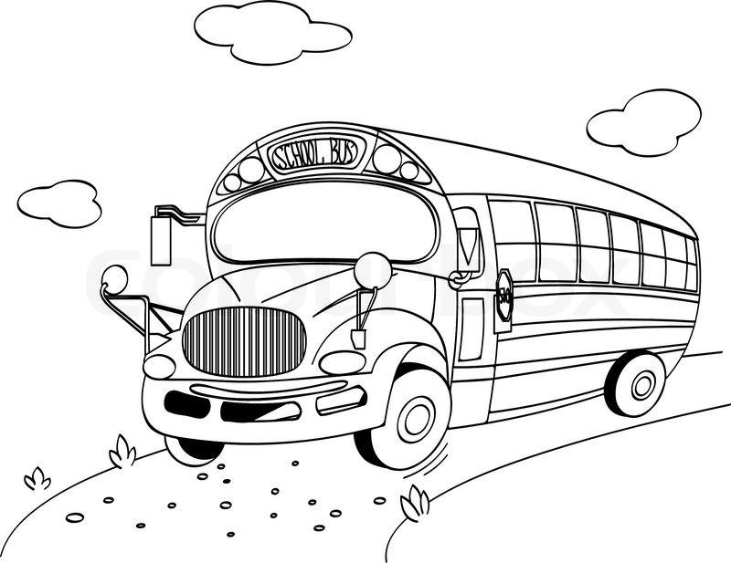 Malvorlage eines School Bus Stock-Vektor Colourbox