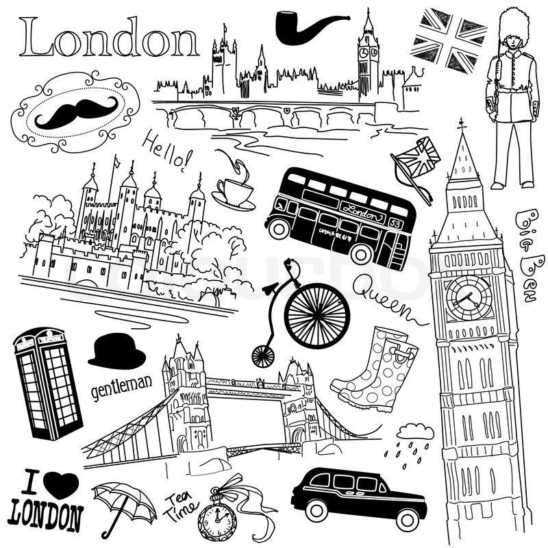 London Zeichnung bleistift Stock Vektor