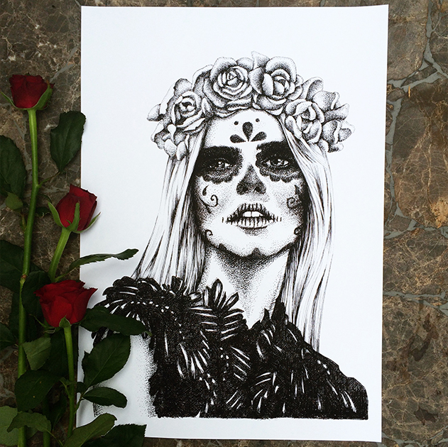 Day of the dead drawing by TEgan Swyny of Colour Cult. Dot art and line drawing style illustration.
