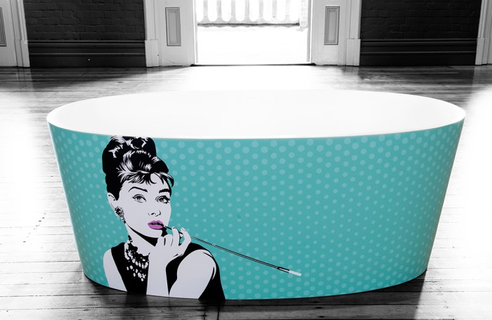 Audrey Hepburn Breakfast at Tiffany's Bath vector illustration artwork by Tegan Swyny of Colour Cult, Brisbane.