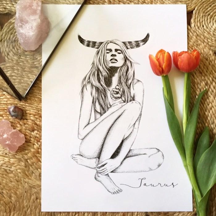 Taurus Horoscope Zodiac Print hand illustration by Tegan Swyny of Colour Cult graphic design and art, Brisbane.