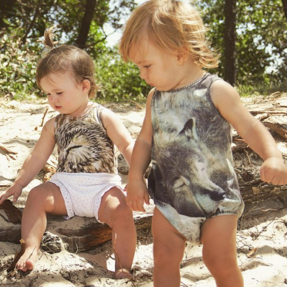Chasing Rivers sleeping animal romper - TExtile design by Tegan Swyny of Colour Cult. Textile design Brisbane.