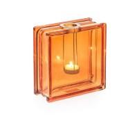 Orange tea light holder - Casa-Uno-Glass-Brick-Vase-with-Silver-Metal-Holder-S96
