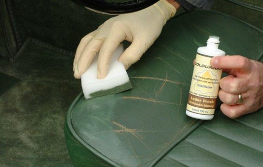 Reparatie van kleurbeschadigingen met Leder Fresh