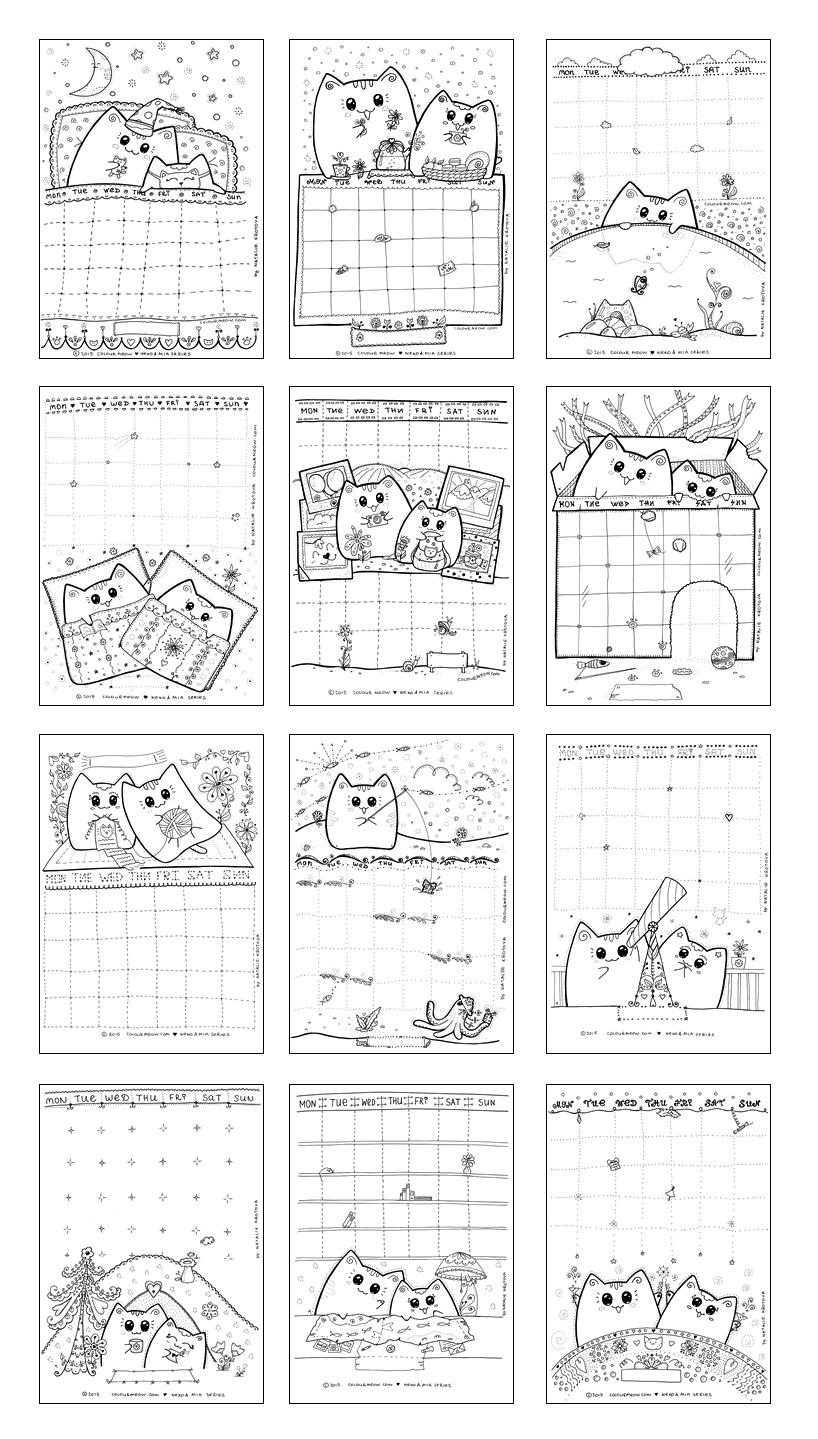 hight resolution of cute printable cat colouring calendar planner neko yoko mia series 1 lots of cuteness