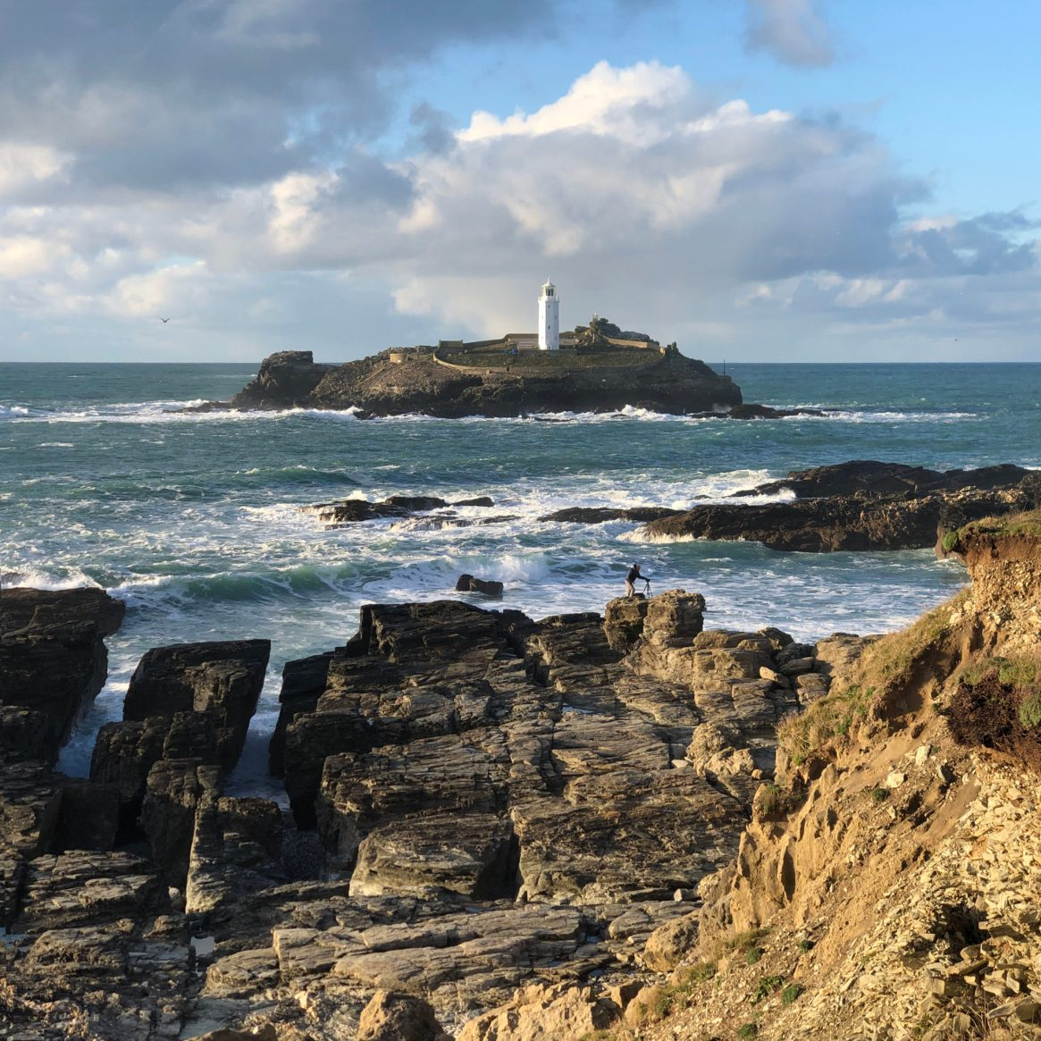 Godrevy Lighthouse from Rocky Coast_8167sq