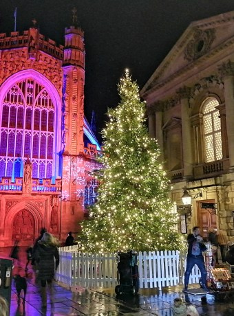 The Bath Abbey in Red and Christmas Tree