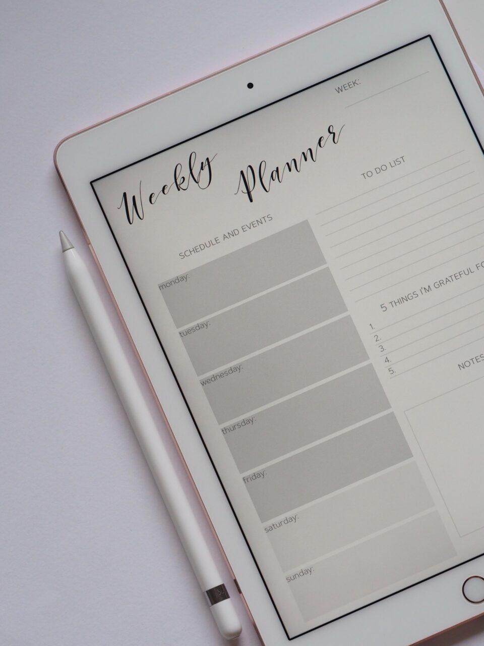 Keep a weekly planner