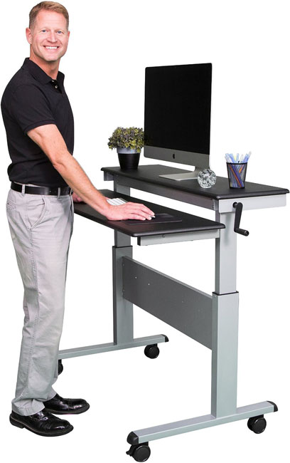 Stand Up Desk 48 Inch Crank Adjustable Desk Split Top