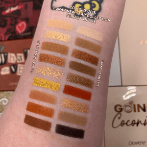Swatches of the Colourpop Lunar New Year curated palettes