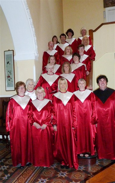 The Choir in another setting: on the staircase of the front-hall!