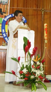 Columban Father Diego Cabrera delivers the homily at the Jubilee Mass