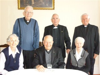 Sisters Mary and Mary Keogh with Frs Donal, Frankie O'Kelly, Colm McKeating and Mal Sinnott