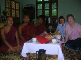 Columban Sisters Kate Midgley and Anne Ryan dilogue with Buddhist monks in Mandalay