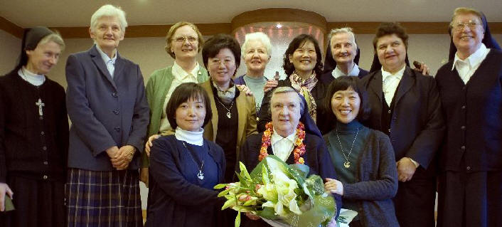Sister Philomena (centre) pictured with Columban Sisters in Korea