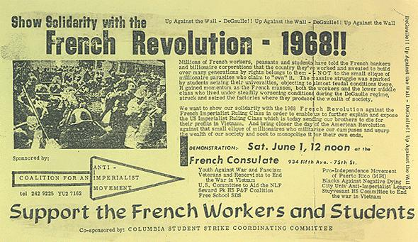 1968 US leaflet in solidarity with French workers and students