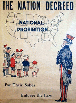 This poster from the 1920s illustrates the dilemma of Prohibition: once the law was passed, campaigns needed to continue for its enforcement, because people were simply disobeying it.