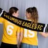 Kelly DeNiro (left) and Rachel MacLeod show off the 2018 Eagles team scarf | Julie Jackson
