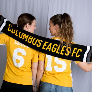 Kelly DeNiro (left) and Rachel MacLeod show off the 2018 Eagles team scarf | Julie Jackson