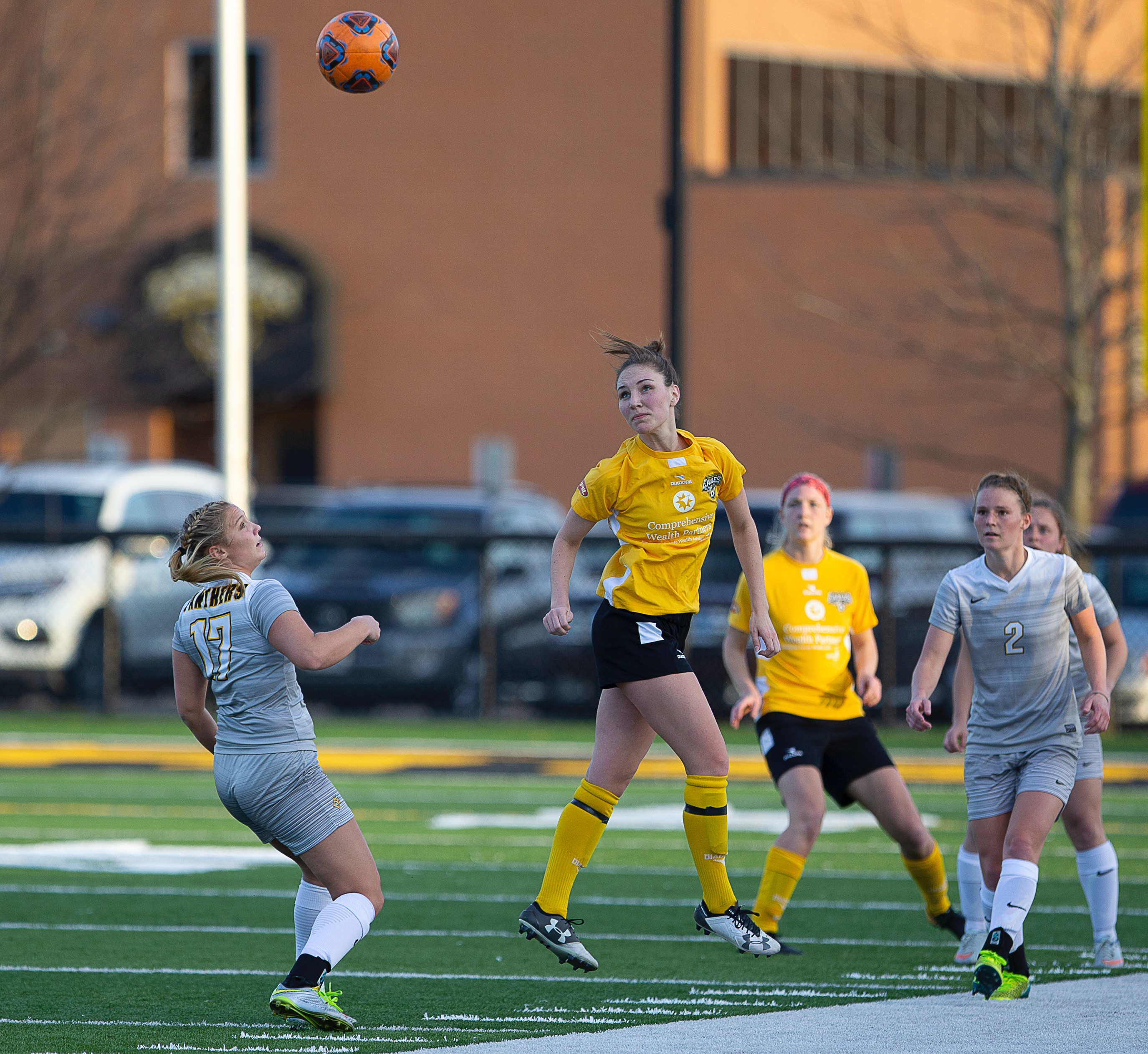 Eagles midfielder Micaela Powers heads the ball along in Columbus's 2-1 win over Ohio Dominican University | Daniel Herlensky