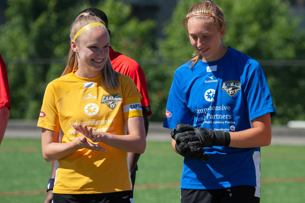 Goalkeeper Hannah Sargent (right) was named the Eagles' Player of the Year by a fan vote | Ralph Schudel