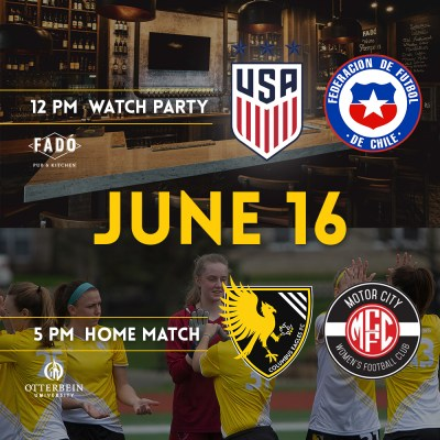 Columbus Eagles FC and Fado Pub & Kitchen have teamed up to host a World Cup watch party on Sunday, June 16. Join us to watch the U.S. play Chile at noon!