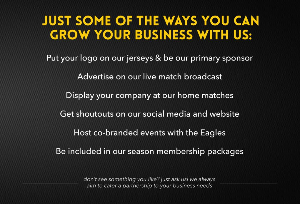 Some of the ways you can partner with the Eagles